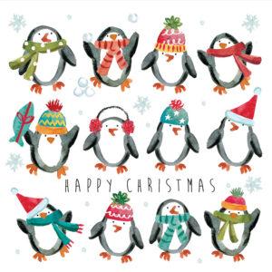 Festive penguin Christmas cards