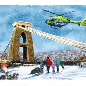 GWAAC flying over Clifton Suspension Bridge Christmas cards