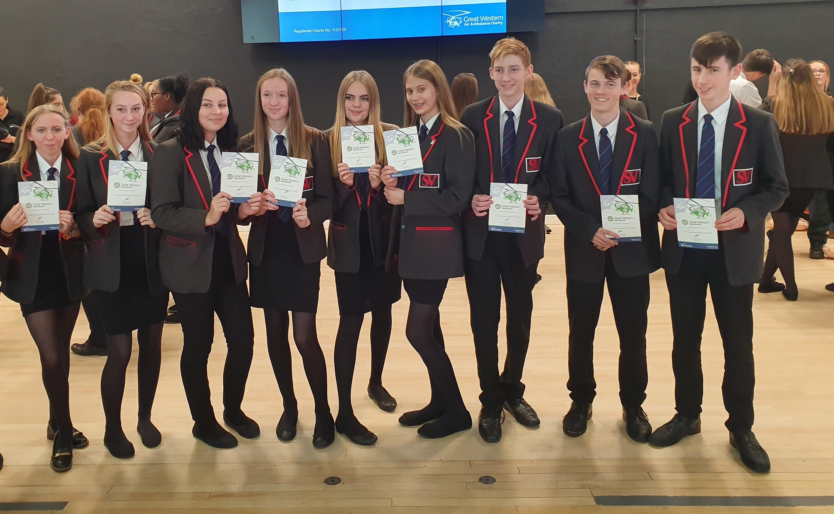Pupils with their Heartstarter certificates
